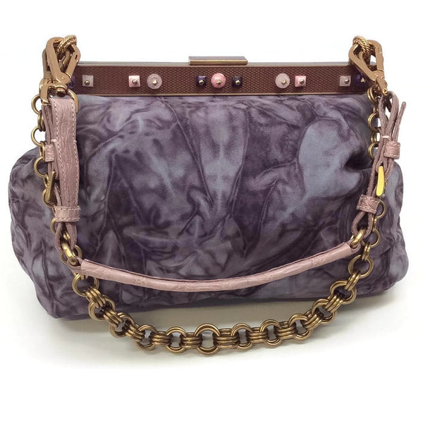 Marbled Suede Lavender Satchel by Prada front