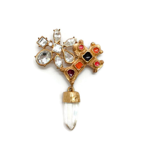Vintage Gold Cross Prism Brooch by Christian Lacroix