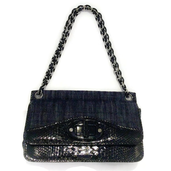 Dark Denim And Black Python Shoulder Bag by Chanel with chain