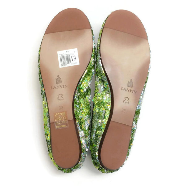 Sequin Ballet Flat Green by Lanvin 38