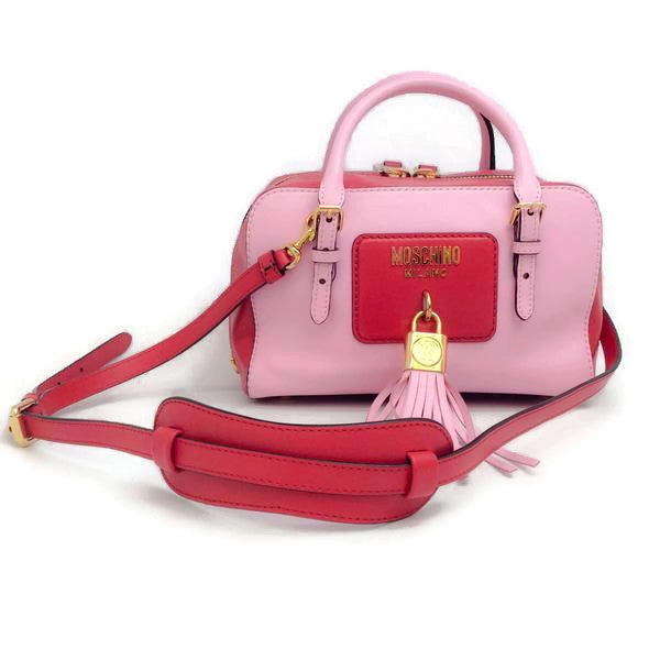 Pink Tassel Satchel by Moschino shoulder strap