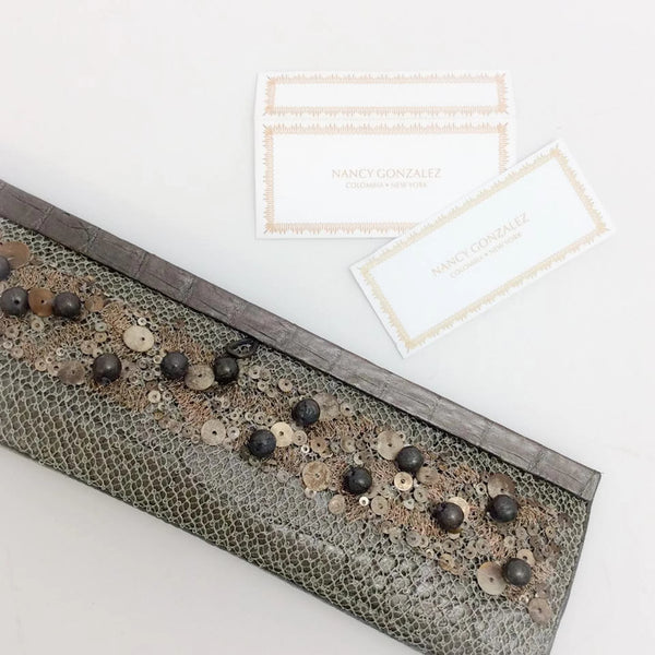 Metallic Dark Taupe With Sequins Clutch by Nancy Gonzalez accessories