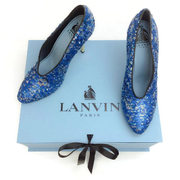 Sequin Blue Pump by Lanvin with box