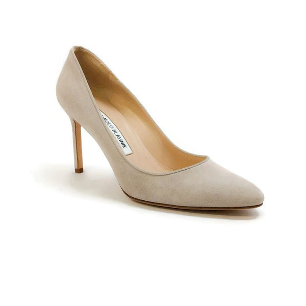 Suede Stiletto Beige Pumps by Manolo Blahnik