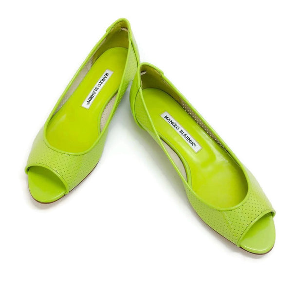 Anetina Lime Patent Leather Flats pair