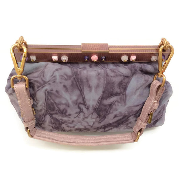 Marbled Suede Lavender Satchel by Prada back