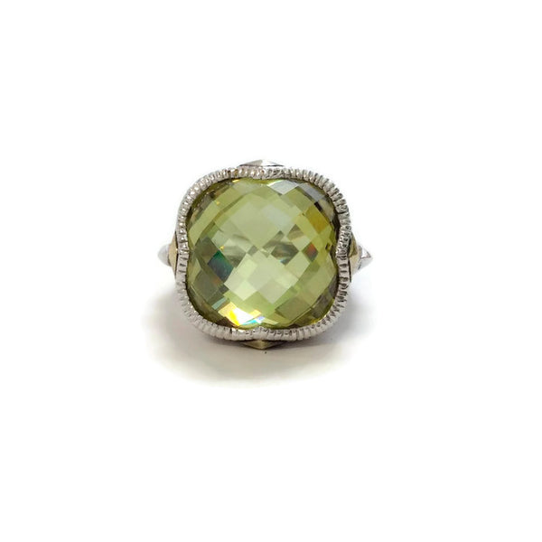 Sterling Silver Green Cushion Cut Stone by Judith Ripka front