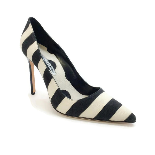 Black / White Striped Pump by Manolo Blahnik