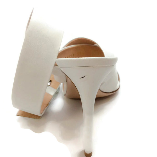 Ankle Wrap Off White Sandals by Gianvito Rossi knick on heel 37.5