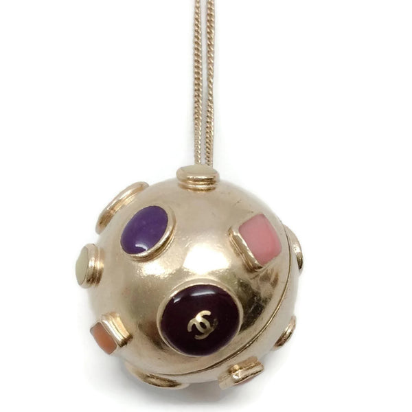 Gold Toned Sphere Pendant by Chanel