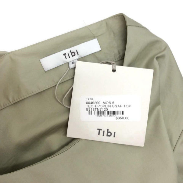 Tibi Moss Multi Tech Poplin Snap Top