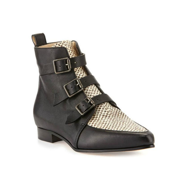 "Jimmy Choo Black / White Snakeskin ""Marlin"" Boots, front"