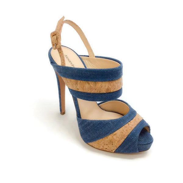 Denim and Cork Platform Sandals by Alexandre Birman