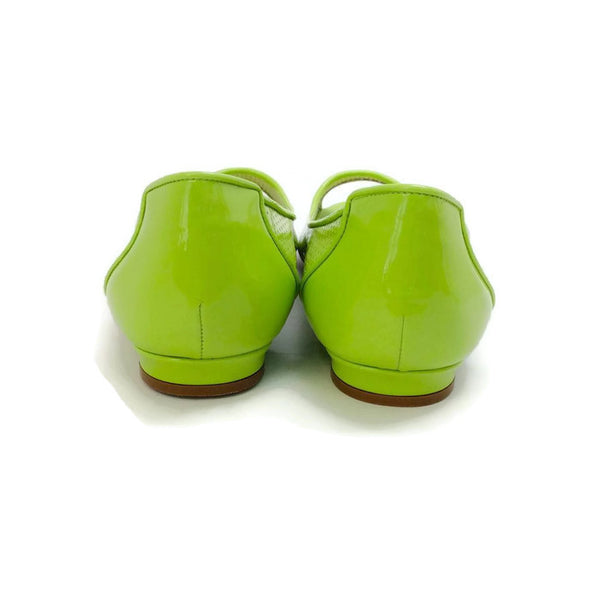 Anetina Lime Patent Leather Flats back