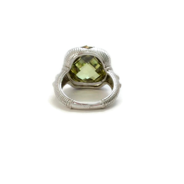 Sterling Silver Green Cushion Cut Stone by Judith Ripka back