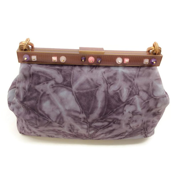Marbled Suede Lavender Satchel by Prada back alternate