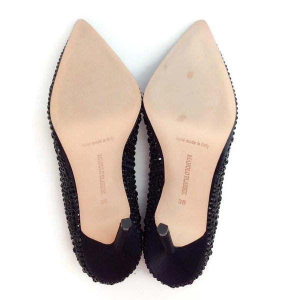 Bb Jet Crystal Coated Satin Black Pumps by Manolo Blahnik 38