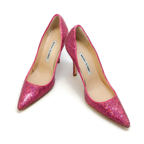 Ciuzzosa Pink Sequin Pumps by Manolo Blahnik pair