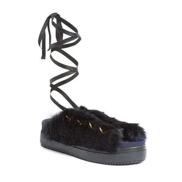 Rabbit Fur Black Sandal by Undercover