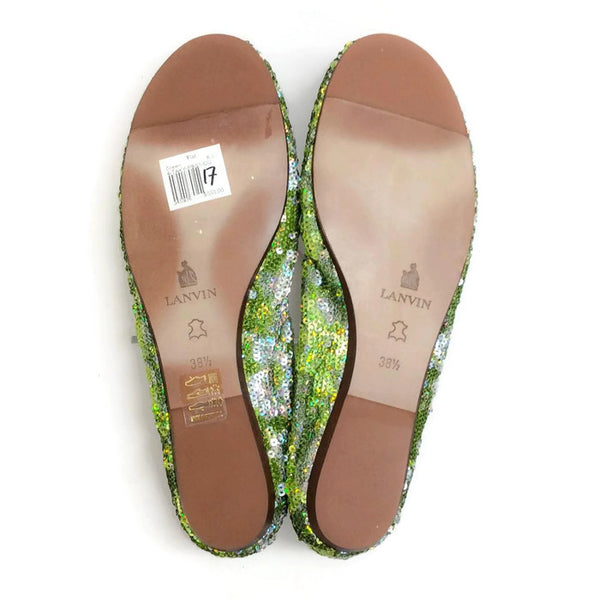 Sequin Ballet Flat Green by Lanvin 38.5