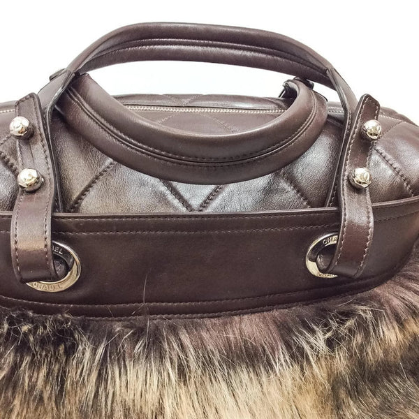 Faux Fur Leather Zip Brown Tote Bag by Chanel top