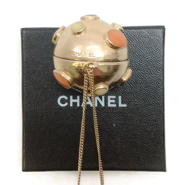 Gold Toned Sphere Pendant by Chanel back