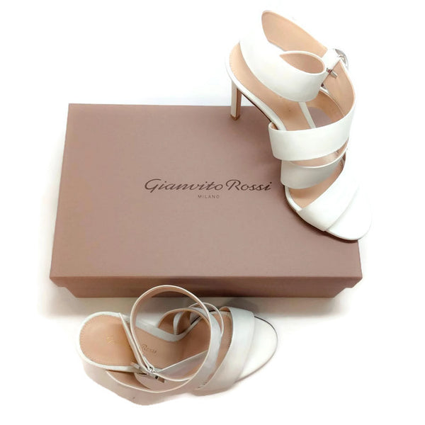 Ankle Wrap Off White Sandals by Gianvito Rossi with box