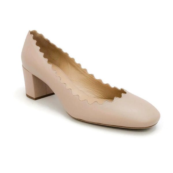 Scalloped Leather Nude Pumps by Chloé