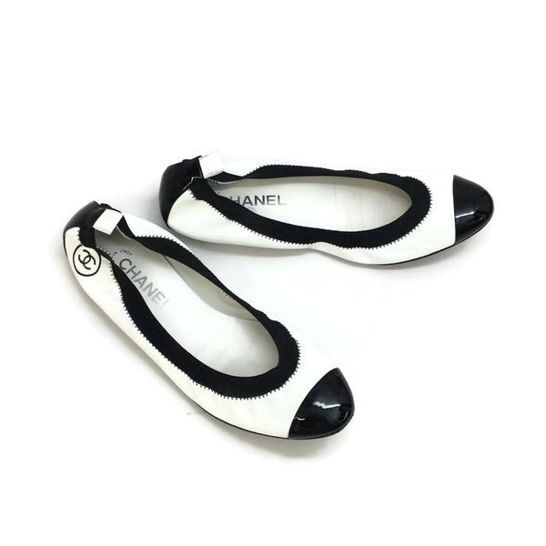 Patent Leather Elastic Ballet Flats by Chanel