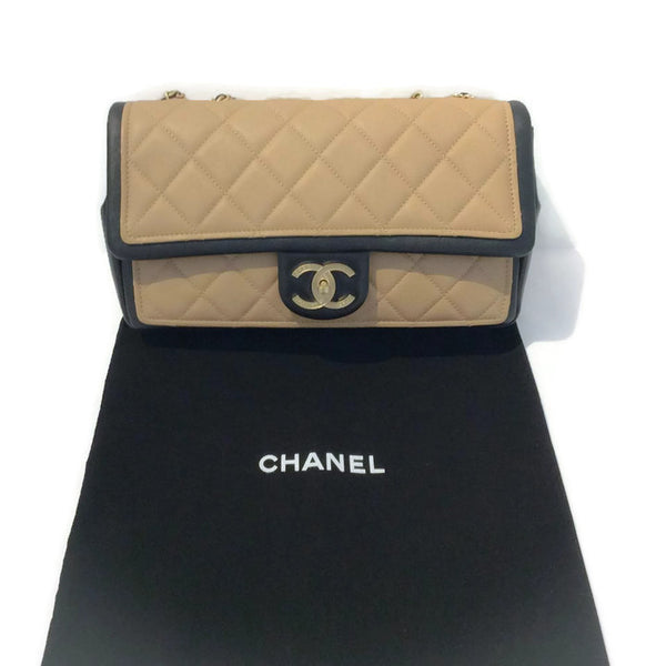 Classic Flap Shoulder Bag Black / Tan by Chanel with dust bag