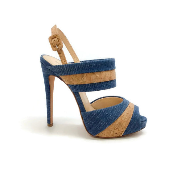 Denim and Cork Platform Sandals by Alexandre Birman outside