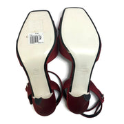 Loewe Red W Satin W/ Rhinestone Bow Sandals
