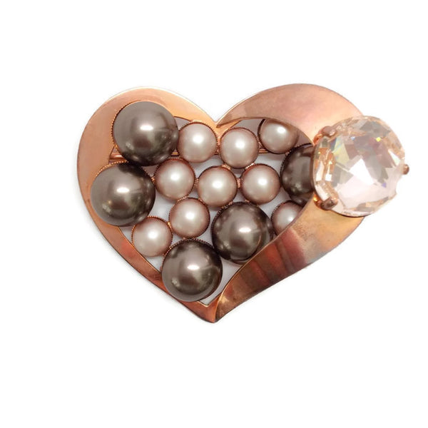 Rose Gold Heart Brooch by Armani Collezioni