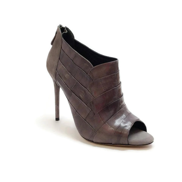 Petals Eel Skin Peep Toe Graphite Booties by Alexandre Birman