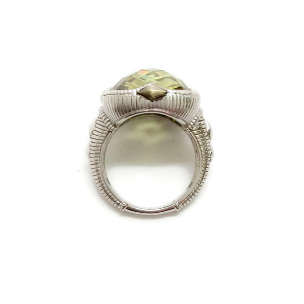 Sterling Silver Green Cushion Cut Stone by Judith Ripka side