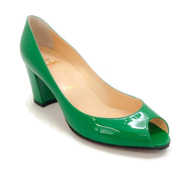 Jo Patent Leather Green Pumps by Christian Louboutin