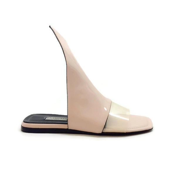 Blush Patent Point Sandals by Balenciaga outside