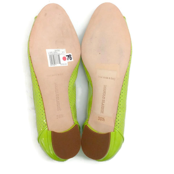 Anetina Lime Patent Leather Flats 36.5