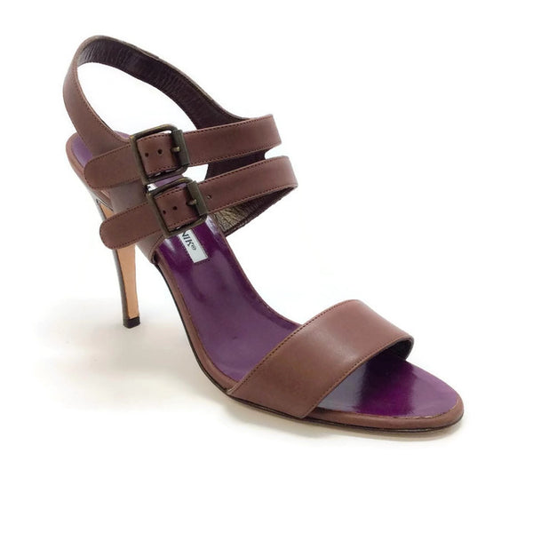 Bakhita Double-Buckle Brown Sandals by Manolo Blahnik