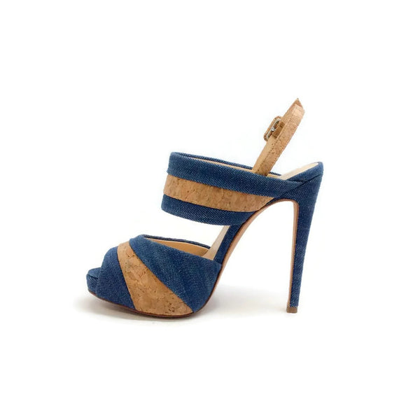 Denim and Cork Platform Sandals by Alexandre Birman inside