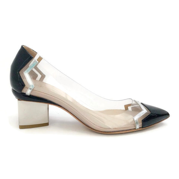 Lucite and Patent Chevron Pump by Nicholas Kirkwood outside