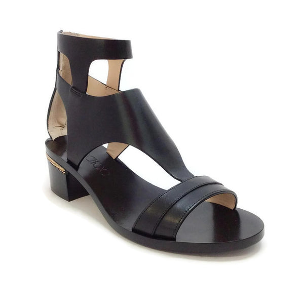Block Heel With Gold Chain Black Sandals by Jimmy Choo