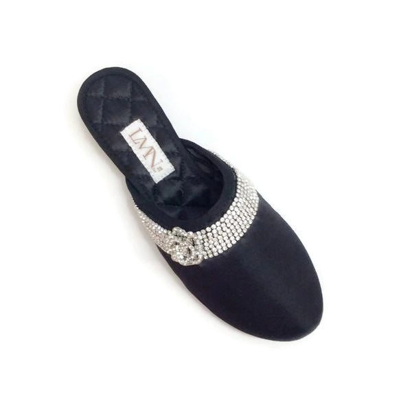Satin Camellia Slipper Black by Luxe Me Now