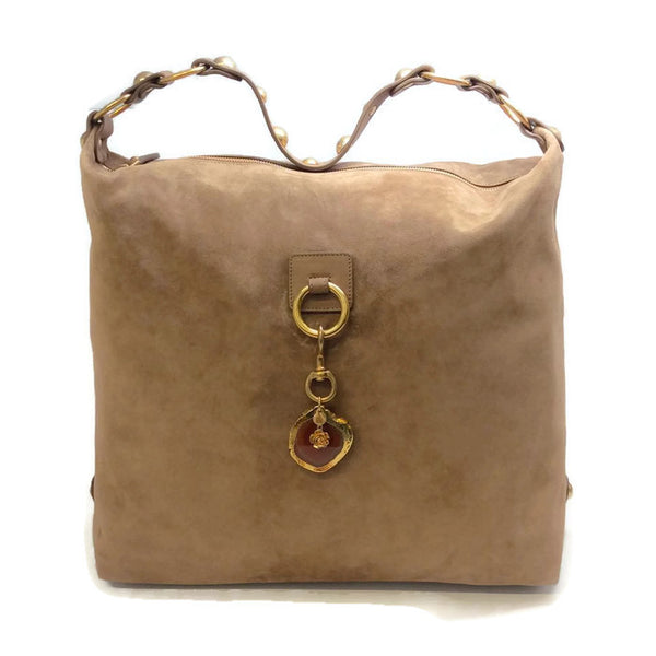 Beige Suede Hobo with Agate by Lanvin