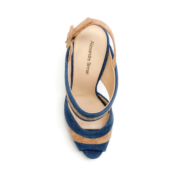 Denim and Cork Platform Sandals by Alexandre Birman top
