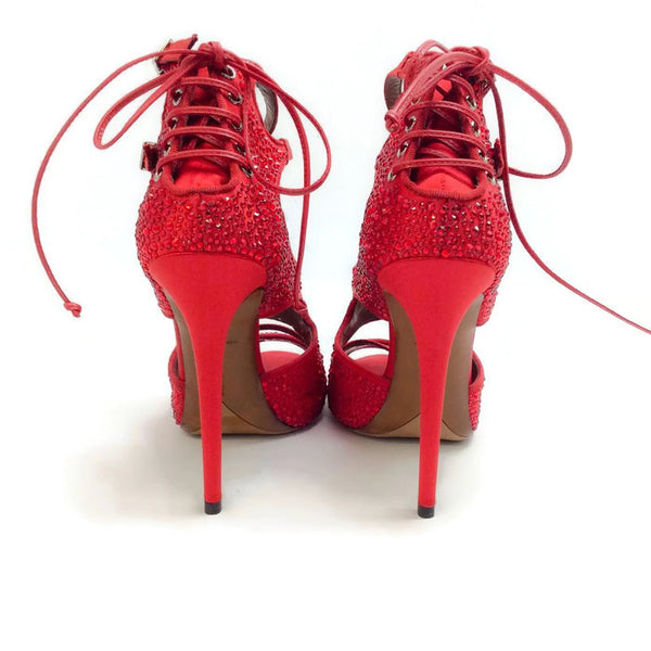 Bailey Red Satin Crystal Pumps by Tabitha Simmons back