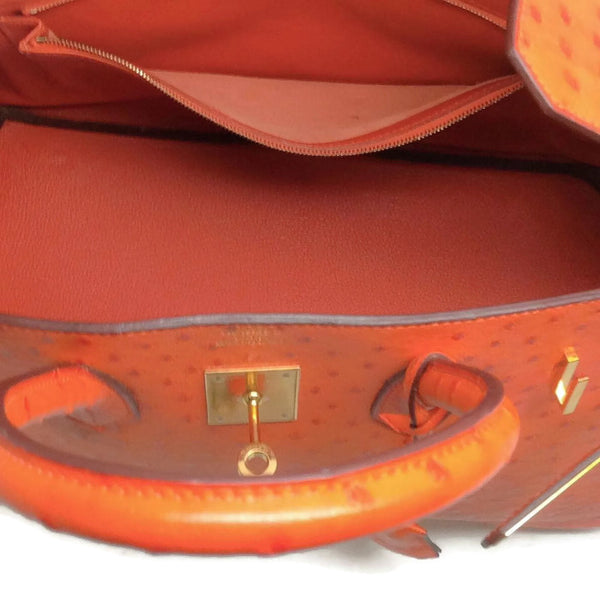 Ostrich Leather Birkin Bag Orange by Hermès pocket