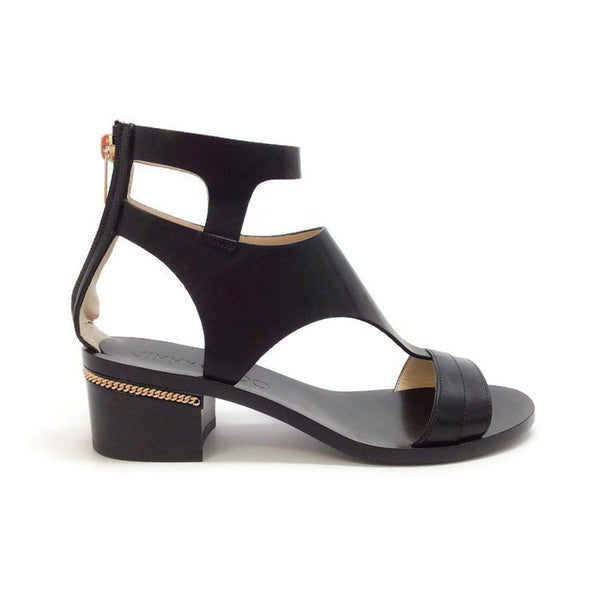Block Heel With Gold Chain Black Sandals by Jimmy Choo outside