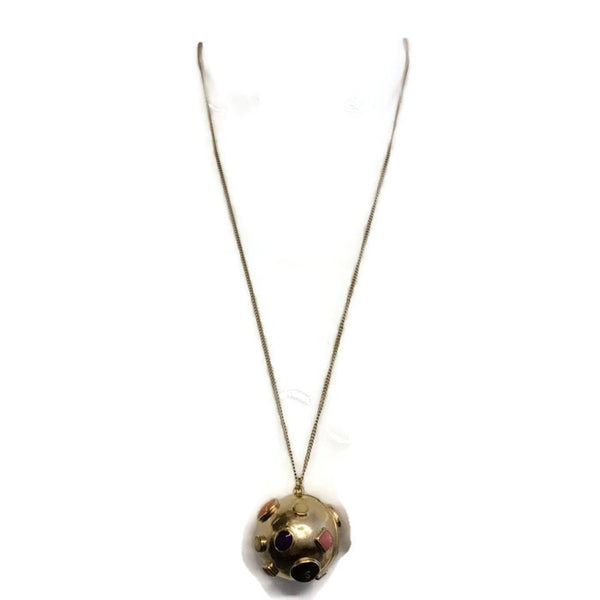 Gold Toned Sphere Pendant by Chanel detail alt