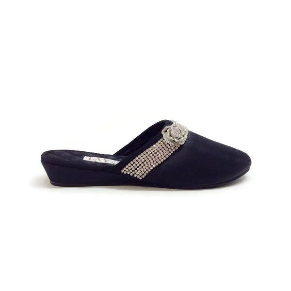 Satin Camellia Slipper Black by Luxe Me Now outside